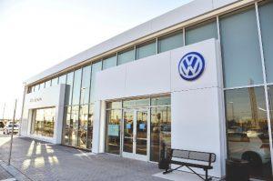 VW of Edmond glass construction